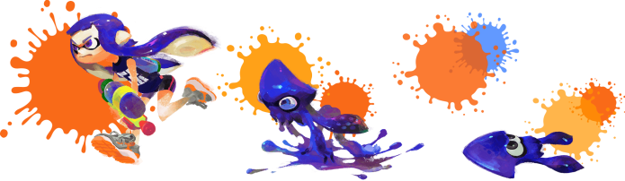 A female Inkling transforming. From the official website http://splatoon.nintendo.com/